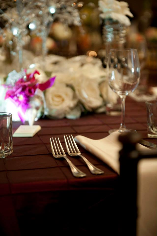 table linen and silverware