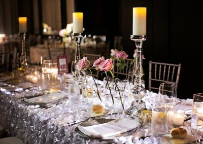 Elegant tablecloth and table setup for special event